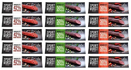 Grillido Sportwurst 15er Mixpack | der Trockenfleisch Protein Riegel | Die Eiweißriegel und Beef Jerky alternative ohne Zucker und wenig Fett| 15 Packungen | Mehr Eiweiß und Protein in einer Salami ✅