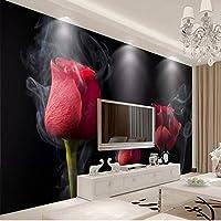 カスタム任意のサイズの壁の布ロマンチックな煙赤いバラの壁画3D壁紙リビングルームテレビ寝室の背景家の装飾フレスコ画-150X120CM