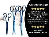 """Fellscheren-Set Hunde-Haarschere Gebogen und Gerade 16,5 cm und Pfotschere 11,2 cm mit Mikroverzahnung """"BLUE TITANIUM"""" - 7"""
