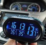 Yosoo Multi-Functional 12V Car Auto LCD Digital Clock Thermometer Temperature Voltage Meter Monitor (Blue)