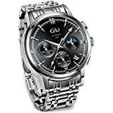 Men's Watches Chronograph Waterproof Stainless Steel Watches for Men Casual Classic Mens Watch Modern Minimalist Wrist Watch Gifts for Men 41mm Quartz Analog Sport Fashion Men Watch with Auto Date