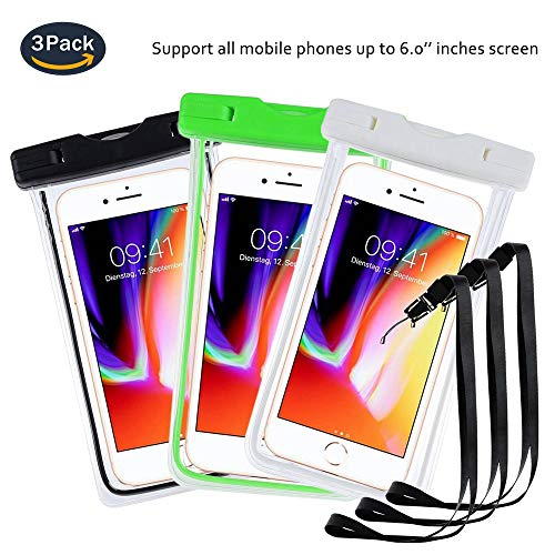 pinlu® 3 Pack IPX8 Wasserdichte Tasche, für Smartphones bis 6 Zoll, für Wiko Rainbow Jam 4G, Wiko U Feel, Wiko U Feel Lite, Wiko Stairway, sandproof Protective Shell -Schwarz+Weiß+Grün
