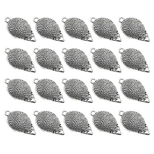 TENDYCOCO 20 stücke Legierung Anhänger Igel Charme DIY Schmuckherstellung Zubehör für Halskette Ohrringe (Antik Silber)