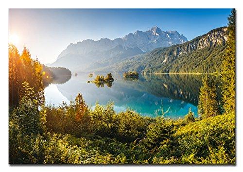 Berger Designs - Bild auf Leinwand als Kunstdruck in verschiedenen Größen. Eibsee an der Zugspitze. Beste Qualität aus Deutschland (120 x 80 cm (BxH))