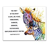 Galatians 5:22-23'The fruit of the Spirit.' Watercolor Zebras, Mother & Child, Inspirational Religious Quotes Wall Art Decor - Unframed 11 x 14 Print - Christian Inspirational Gifts