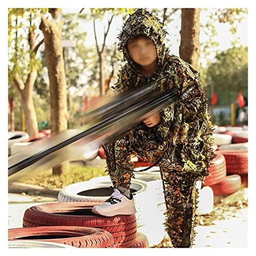 Tuta da Cecchino,Tuta Mimetica Jungle Softair Pantaloni da Caccia Woodland Sniper Softair Bosco Costume Cespuglio Cappello Set Giacca Mimetica Uomo,3D Camouflage Estiva