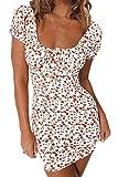 Nensiche Robe d´été sans Bretelles Taille Haute pour Femmes Vintage Mini Robe bohème Taille Haute à imprimé Floral (White, M)