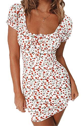 Damen Sommer hohe Taille trägerloses Kleid Vintage böhmische hohe Taille Blumendruck Strand Minikleid (White, XL)