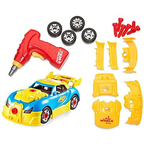 Sicherheit Nehmen Sie Toy Racing Car Educational Construction Toys Kit mit Bohrmaschine Werkzeug Realistische Sounds Lichter 30 Stück Zubehör Bauen Sie Ihr eigenes Auto Beste Kindergeschenk für 3-jähr