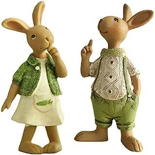 Set of 2 Vintage Rustic Country Bunnies Figurine Ornament Decorative Easter Decor Resin Bunnies Rabbit Egg Figurine Rabbit Statue (Standup Female+Male Bunnies)