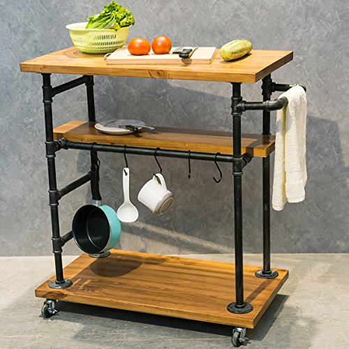 Industrial Portable Kitchen Island on Wheels,Bar Carts for the Home Wine Bar Beverage Coffee Cart,Metal Rolling kitchen carts and islands,Wood and Pipe 3-Tier Butcher Block Island Food Serving Cart
