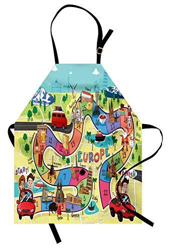 ABAKUHAUS Bordspel Keukenschort, European Travel Theme, Unisex Keukenschort met Verstelbare Nekband voor Koken en Tuinieren, Veelkleurig
