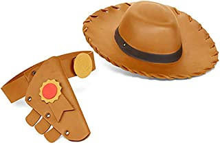 مجموعة إكسسوارات أزياء توي ستوري 4 المكونة من 3 قطع من ديزني وودي بويز مع قبعة وجراب وحزام أسمر ضارب للصفرة