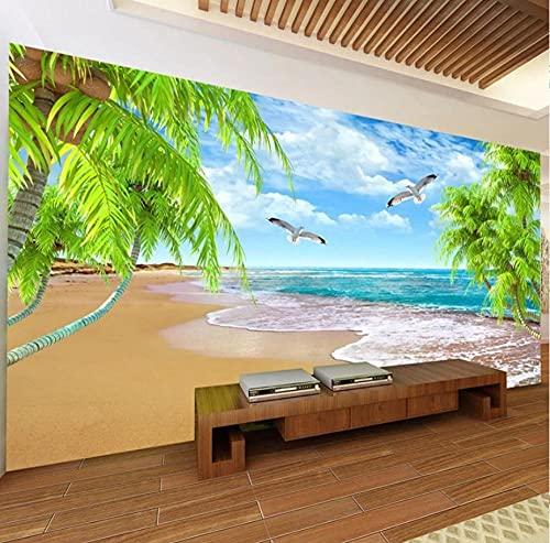 Papel tapiz fotográfico 3D Naturaleza Paisaje Coco Murales junto al mar Sala de estar TV Sofá Tema Hotel Fondo de pared-200 * 140 cm