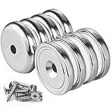 Wukong Pot Magnets 8 Paquetes N52 Base redonda fuerte Imán de avellanado de neodimio Imá...