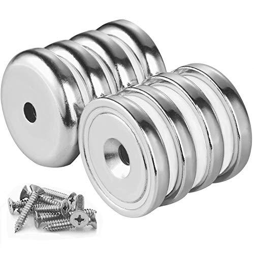 Wukong 8 Stück Neodym-Disc Senkkopf Loch Magnete, starker Rare Earth Magnet mit 8 Schrauben für das Handwerk extra starke magnete Haltekraft 65 LBS 32MM X 8MM