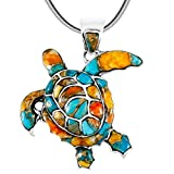 Turtle Pendant Necklace 925 Sterling Silver Genuine Gemstones (20', Spiny Turquoise)