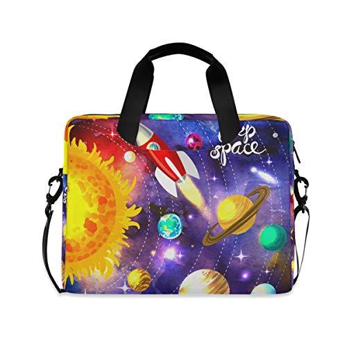 iRoad 15.6 InchLaptop Bag Case Solar System Planet Spaceship Computer Case Laptop Sleeve Case with Shoulder Strap Bag for Women Men
