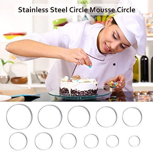 Delaman uitsteekvormen bakken RVS rond koekjessnijder, bakken metaal ring vormen, voor deeg fondant, set van 12