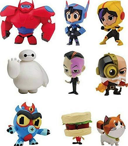 BAYMAX 9er Set Big Hero 6 Chibi Figuren , Mini Serie 1 rot, Weiss, Hiro, Fred, Mochi, Go Go,Baron von Steamer,Noodle Burger Body und Obake