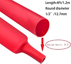 Dual Wall Heat Shrink Tubing 3:1 Ratio Heat Activated Adhesive Glue Lined Marine Shrink Tube Wire Sleeving Wrap Protector Red 4Ft (Dia 12.7mm (1/2