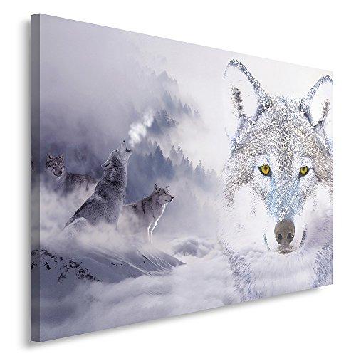 Feeby Frames, Cuadro en lienzo, Cuadro impresión, Cuadro decoración, Canvas de una pieza, 40x60 cm, LOBOS, MODERNOS, DOBLE EXPOSICIÓN, BOSQUE, BLANCO, GRIS