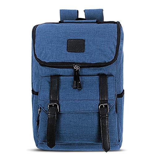 Laptop Bag, Universal Multi-Function Canvas Laptop Computer Shoulders Bag Leisurely Backpack Students Bag, Size: 43x30x14cm, Portable Notebook Computer Carrying Case Bag (Color : Blue)