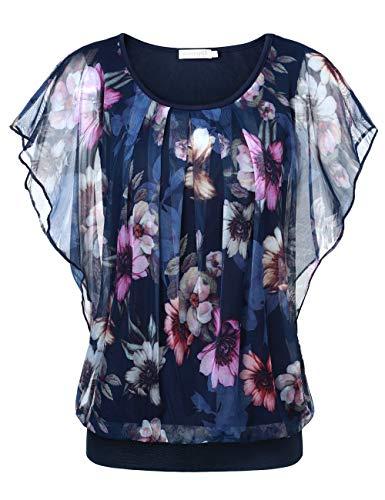 BAISHENGGT Damen Falten Kurzarm Tunika Batwing Rundkragen Bluse Blau-Blumen Large
