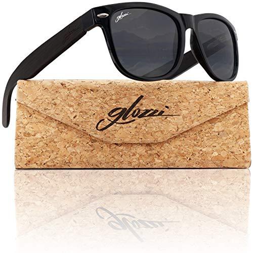 glozzi Sonnenbrille Herren und Damen Holz Polarisiert und Entspiegelt UV400 Schwarz mit Holzbügeln aus Ebenholz und Brillenetui aus Kork
