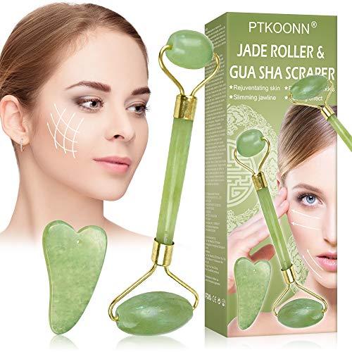 Jade Massagestein,Jade Roller,Jade Roller Massagegerät,Gesichts Roller,für Gesichts Halshaut Wangen Hautstraffung