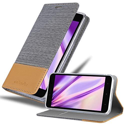 Cadorabo Hülle für Xiaomi RedMi Note 5A in HELL GRAU BRAUN - Handyhülle mit Magnetverschluss, Standfunktion & Kartenfach - Hülle Cover Schutzhülle Etui Tasche Book Klapp Style