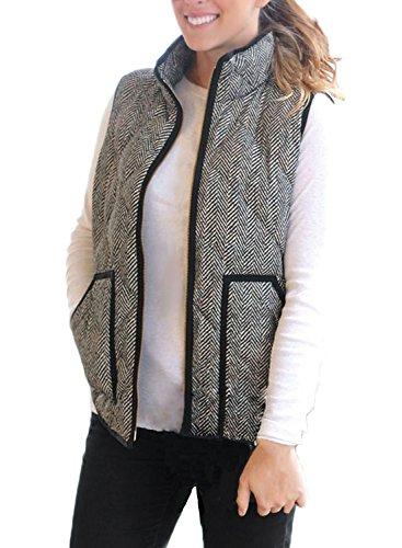 HOTAPEI Womens Vest Slim Winter Fall Zip Up Lightweight Down Vest Fleeece Outdoor Puffer Quilted Vest Black X-Large