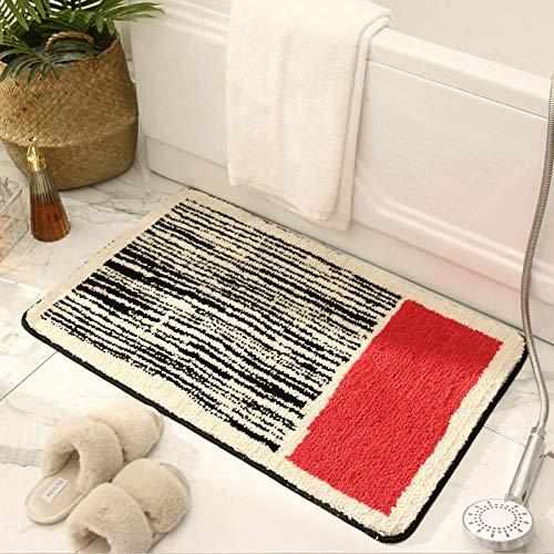 Alfombra De Baño Antideslizante Felpa Microfibra Baño Alfombra Súper Absorbente,Lavable A Máquina Tapete para El Piso,para Baño, Inodoro, Dormitoriola Mitad Roja 40×60 Cm