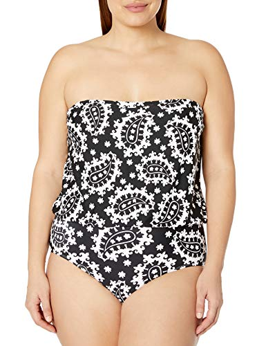 Anne Cole Women's Plus Size Bandeau Blouson One Piece Swimsuit, Black White, 18W