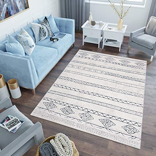 Tapiso Lotus Teppich Kurzflor Creme Blau Elfenbein Modern Ethno Vintage Design Wohnzimmer Schlafzimmer Loop Cut 3D Optik ÖKOTEX 140 x 200 cm