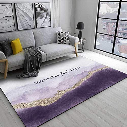 WQ-BBB Bonita Comedor La Alfombrae Decoración Violeta Alfombra Infantil Gris marrón Degradado Super Lujoso Suave Rugs 80X120cm