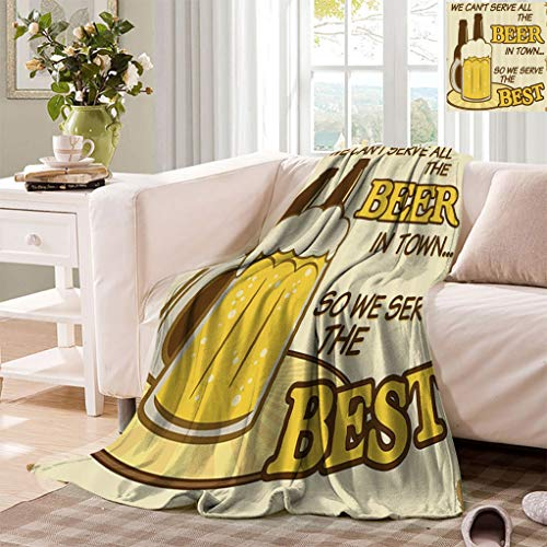 """Datiansun 1950s Decor Throw Blankets, Quotes We Cant Serve All The Beer in Town so We Serve The Best Vintage Grunge Poster Style Fluffy Mini Blanket for Couch Sofa, 50"""" x 30"""" Yellow"""