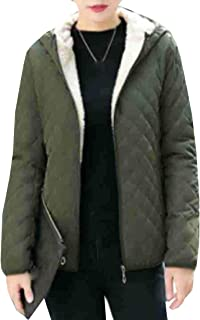Womens Down Quilted Midlength Vestee Puffer Jacket with Fleece Hoodies