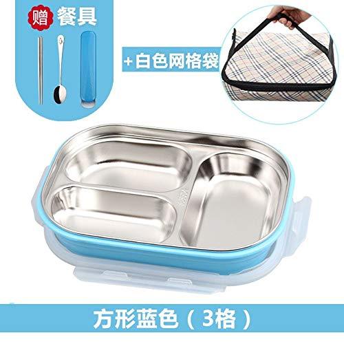 MjxdsbFast food box plastic lunchbox, blauw drie vakken, bestek, koeltas