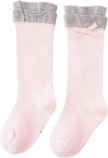 Bebé niñas calcetines largos altos bebe recien nacido térmico algodon calcetines de vestir invierno calcetines fiesta ceremonia calcetines bebe niña lazo