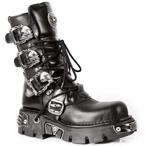 New Rock Rocker Damen Newrock 391 S1 Schwarz Und Silber Motorradfahrer Biker-Unisex-Stiefel metallischer Reaktor Goth Emo Punk Biker Unisex Boots (7 UK / 40 EU)