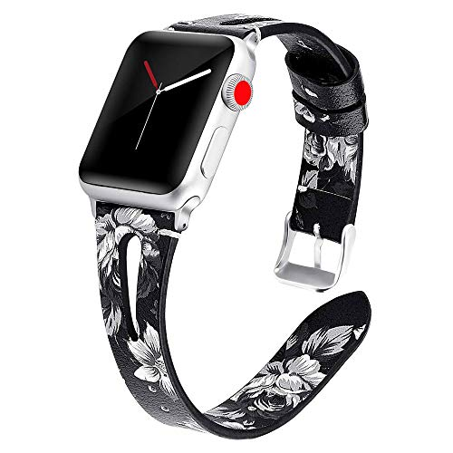 Miimall - Correa de reloj de piel compatible con Apple Watch serie 1, 2, 3, 4, 5, 44 mm, 42 mm