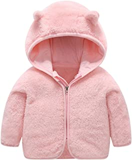 Bear Ears Shape Fleece Warm Hoodies Clothes Toddler Zip-up Sweatshirt Outwear for Baby Boys Girls