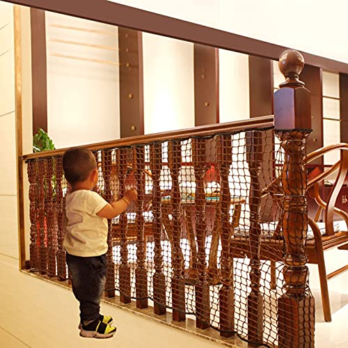 Banister Guard Railing Safety Net Baby Proofing Stair And Balcony, Child Safety Gate Cover, Safe Rail, Indoor 6.5Ft L X 2.6Ft H,Brown