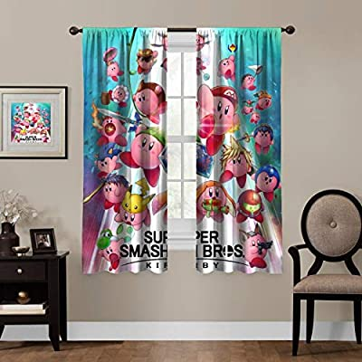 """Blackout Curtains, Super Smash Kirby,Anime Rod Pocket Thermal Insulated Darkening Window Drapes for Bedroom, Cute Animal Boys Girls Room Décor, 63""""×63"""", 2 Panels"""