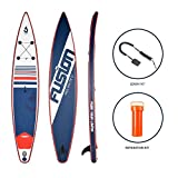 Inflatable Stand up Paddle Board, Fusion RACE 12'6' Long 6.0' Thick for Extra Stability up to 130Kg | Non-Slip Pad, Wide Stance with Bottom Fin for Paddling and Surf Control | with Accessories