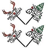 NICEXMAS - Juego de 4 decoraciones navideñas para tartas de Navidad, decoración de tartas de Navidad