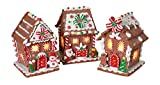 Gerson Set of 3 Lighted Gingerbread Peppermint Candy Houses in Clay Dough Resin with Frosted Snow Look, Battery Operated, 5.5 Inches High Each