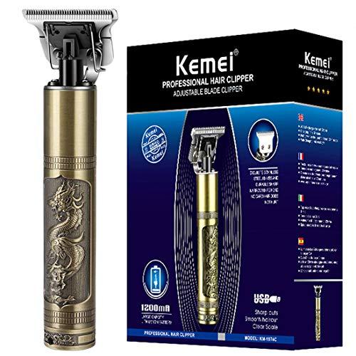 KEMEI Haarschneidemaschinen für Männer Professionelle Pflege Trimmer USB Wiederaufladbare T-Klinge 0 mm Zero Gapped Detail Glatze Haarschneidemaschinen mit 4 Limit Kämme, Dragon