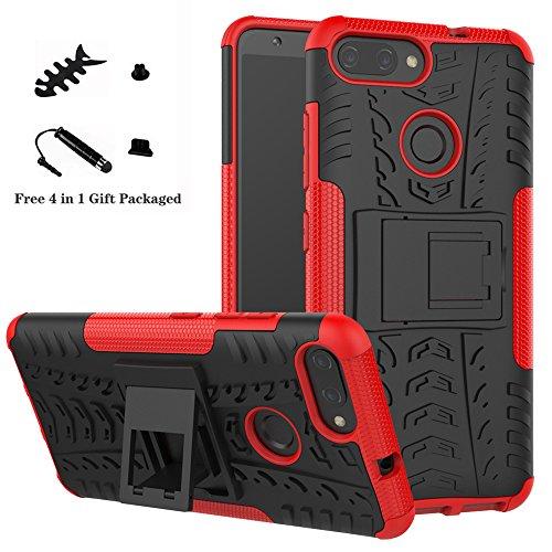 LiuShan ASUS Zenfone Max Plus M1 Coque, Shockproof Robuste Impact Armure Hybride Béquille Housse Coque Étui Couverture pour ASUS Zenfone Max Plus (M1) ZB570TL Smartphone (4 en 1 Cadeau emballé),Rouge
